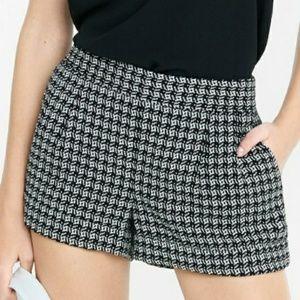 Express Black & White Optic Pleated Shorts